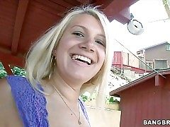 Smiley blonde Layla Price in tiny pink undies shows her