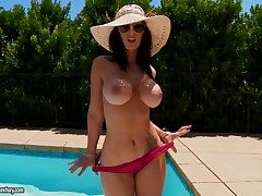 Voluptuous Jayden Jaymes is getting incomparably sex-mad as she squeezes their way perky nipples by the poolside